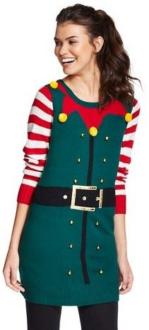 61c99650751 Elf Women's Ugly Christmas Elf Tunic Sweater - 33 Degrees | Ugly ...
