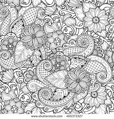 Ornamental Seamless Ethnic Black And White Pattern Floral Background Can Be Used For Wallpaper Pattern Fills Textile Fabric Flower Background Wallpaper Pattern Coloring Pages Flower Doodles