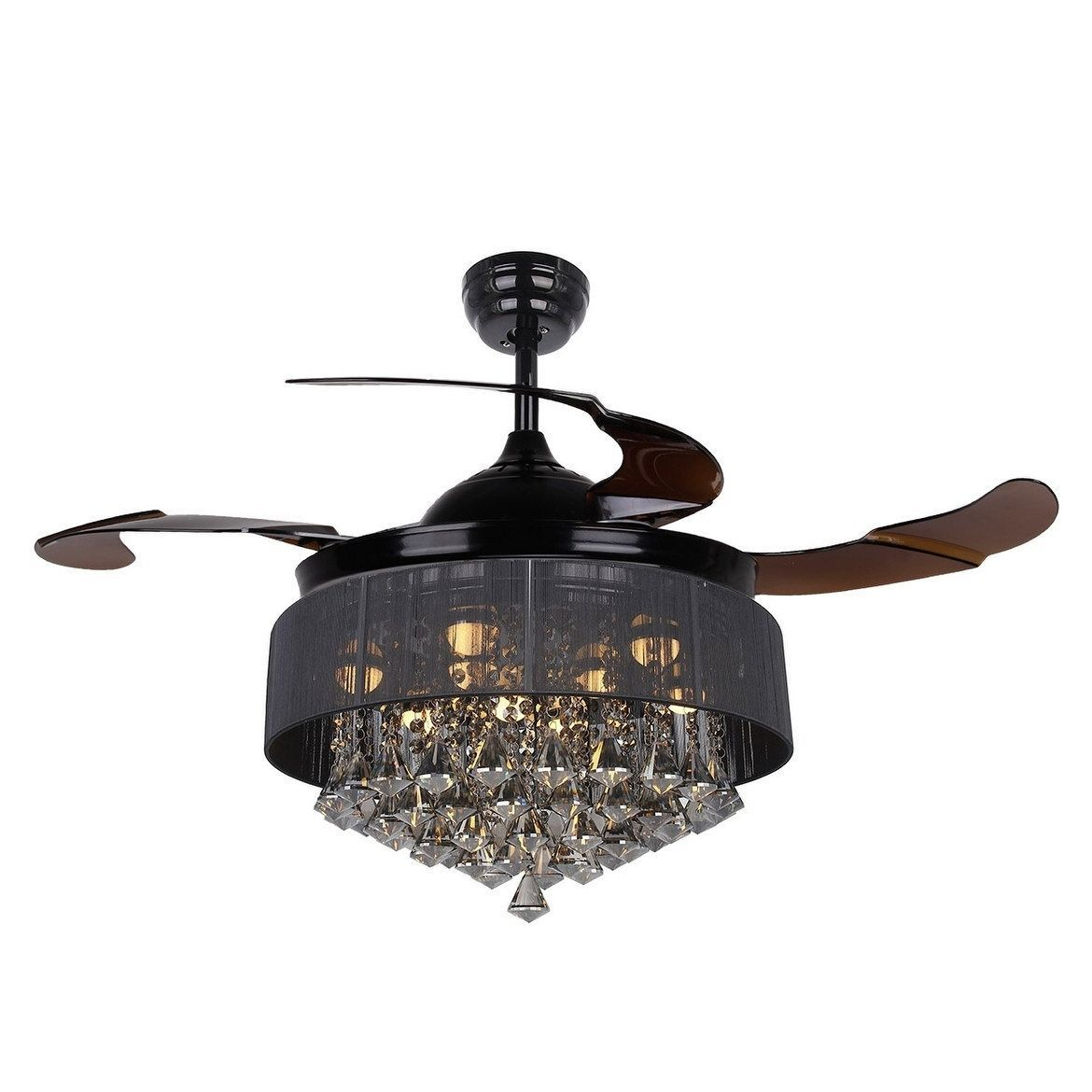 Parrot modern crystal led ceiling fan with foldable blades black parrot modern crystal led ceiling fan with foldable blades black metal aloadofball Gallery