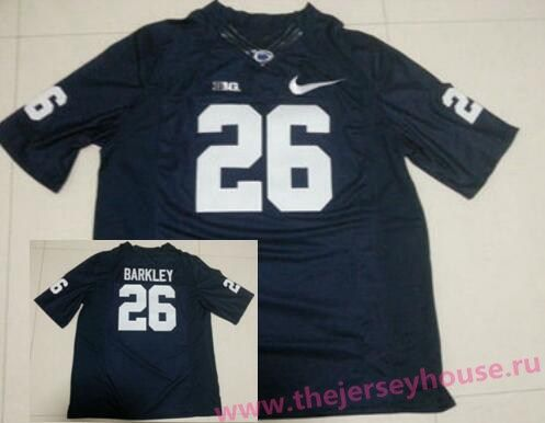 super popular f7602 707c8 Men's Penn State Nittany Lions #26 Saquon Barkley Navy Blue ...