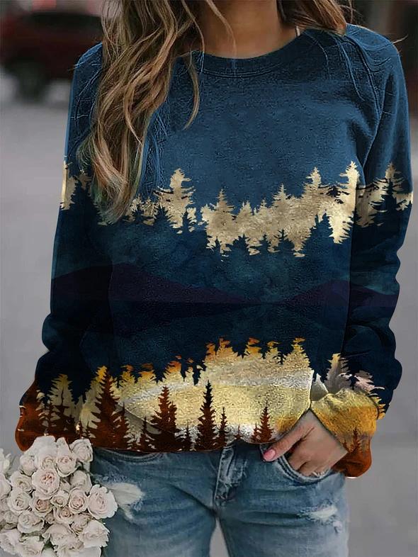 Plant print loose casual sweatshirt