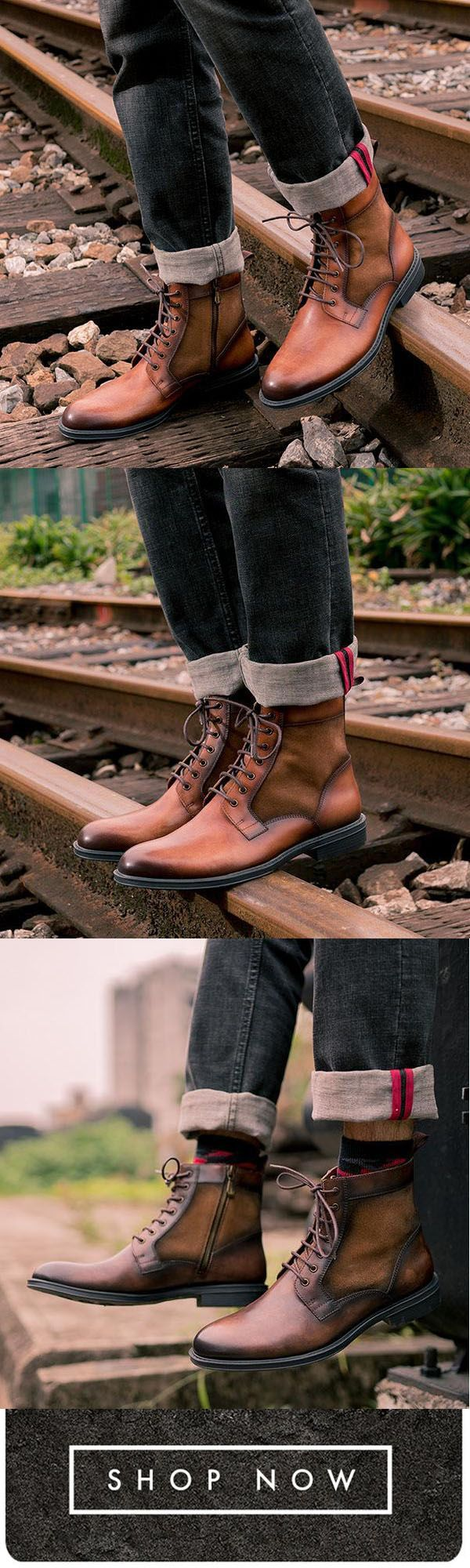 13091fd69245f Florychic Men s Fashion Vintage Lace Up Ankle Boots