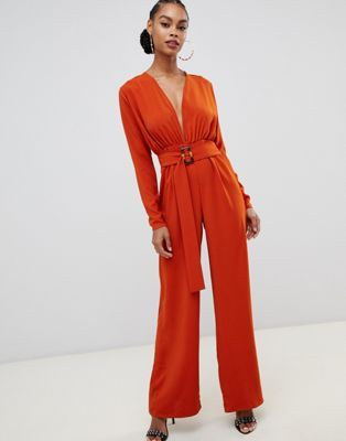 1007b52b26d Boohoo belted plunge jumpsuit in rust in 2019