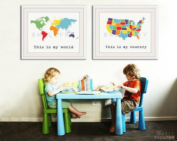 Large World Map Print X Set Of USA Map And World Map Poster - World map for playroom