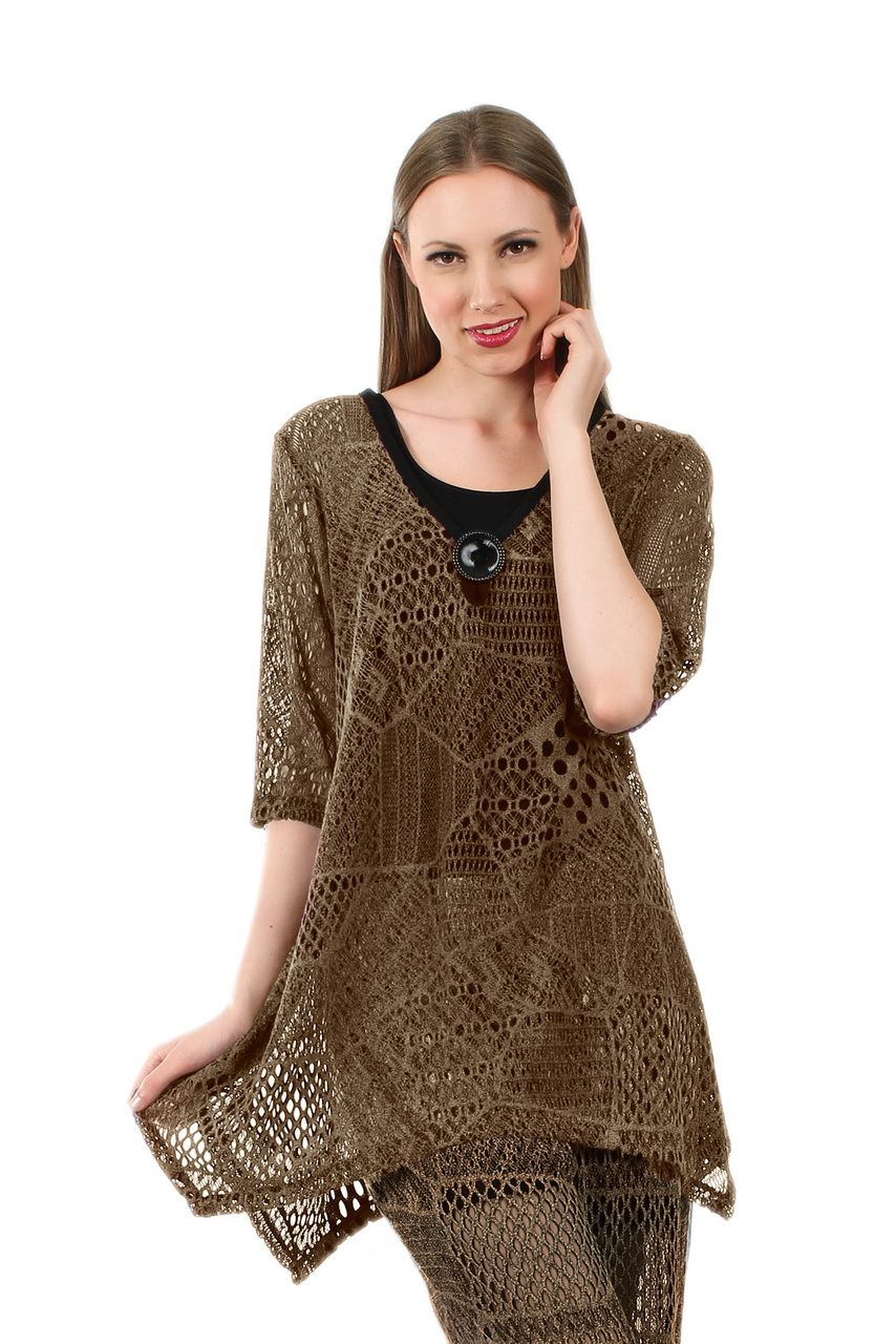 3 4 Sleeve Crochet Tunic Color Vary Lily Outlet Crochet Tunic Tunic Tops 2014 Fashion