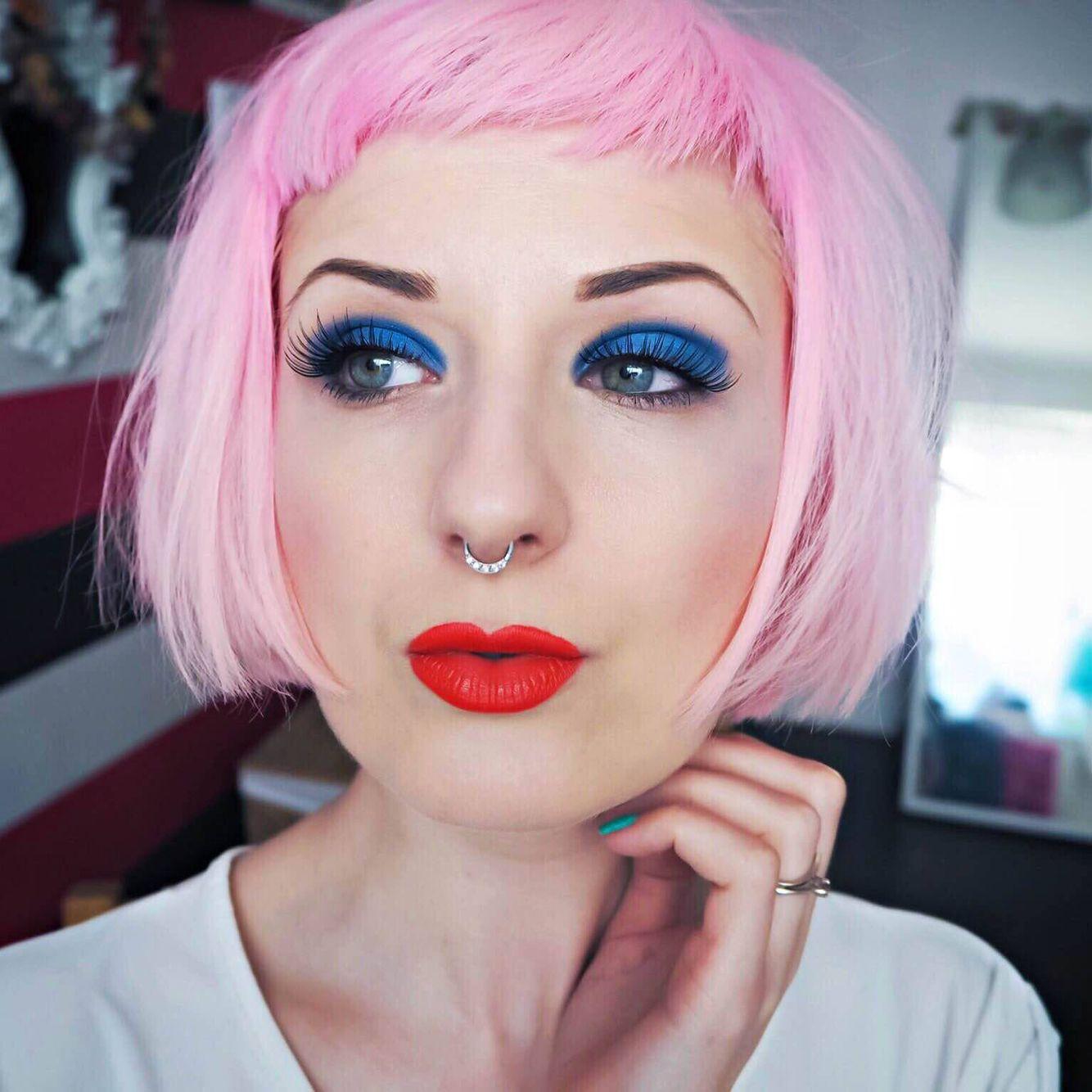 Blue Eyeshadow Red Lipstick Www Honeypopkisses Com Bold Makeup