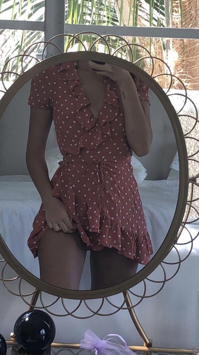 Photo of Nyx mini wrap dress in polka dot –