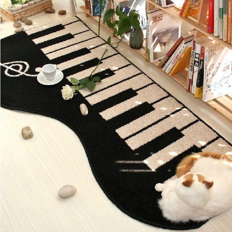 New Black Keyboard Area Rug Piano Music Note Rugs Carpet Giant Floor Mat