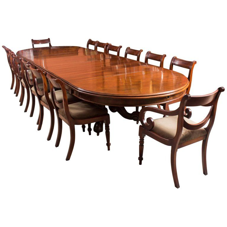 Antique Victorian Mahogany Twin Base Dining Table 19th Century And 14 Chairs
