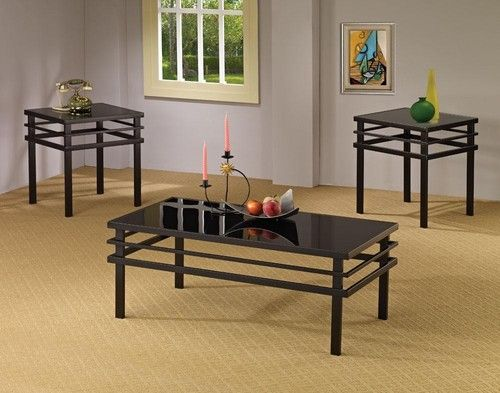 3 Pc Black Coffee Table End Table Set 701524 Coffee Table 3
