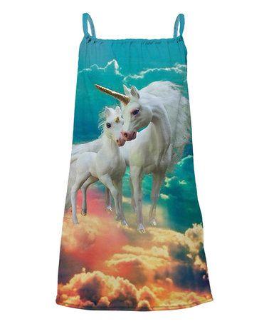 This Blue Unicorn Sublimation Yoke Dress - Toddler & Girls is perfect! #zulilyfinds
