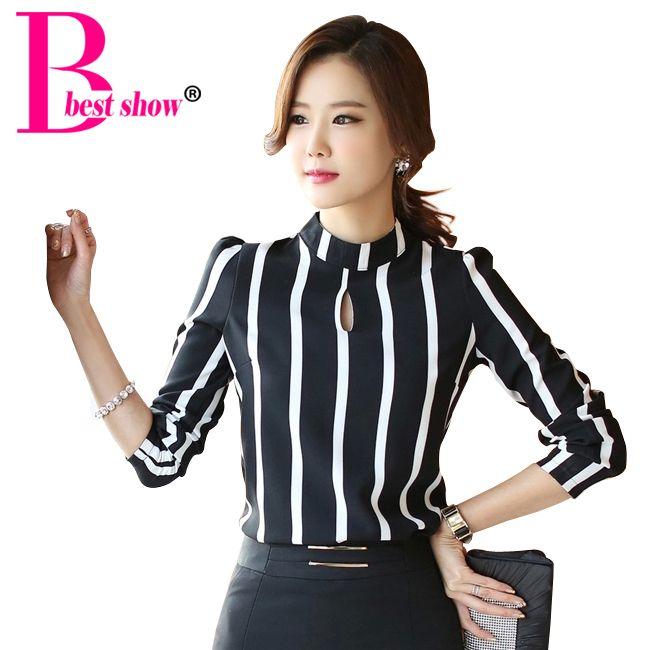 New Korean Style Fashion Cute Hollow Out Long Sleeve Striped Bodysuit  Chiffon Blouse 2015 Plus Size - New Korean Style Fashion Cute Hollow Out Long Sleeve Striped