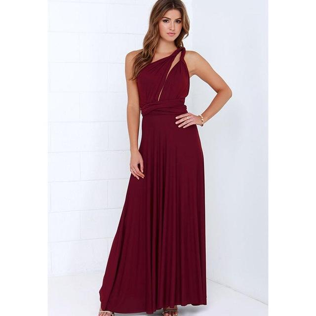 79ef3d0947 New Winter Sexy Women Maxi Dress Red Beach Long Dress Multiway Bridesmaids  Convertible Wrap Party Dresses Robe Longue Femme