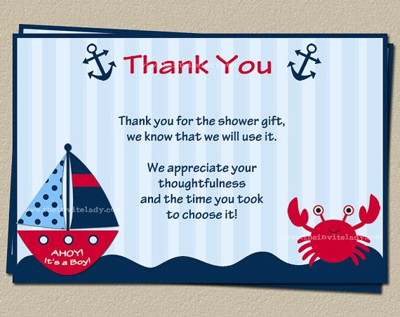 Nautical Baby Shower Thank You Card Red AND By TheInviteLadyShop, $6.50