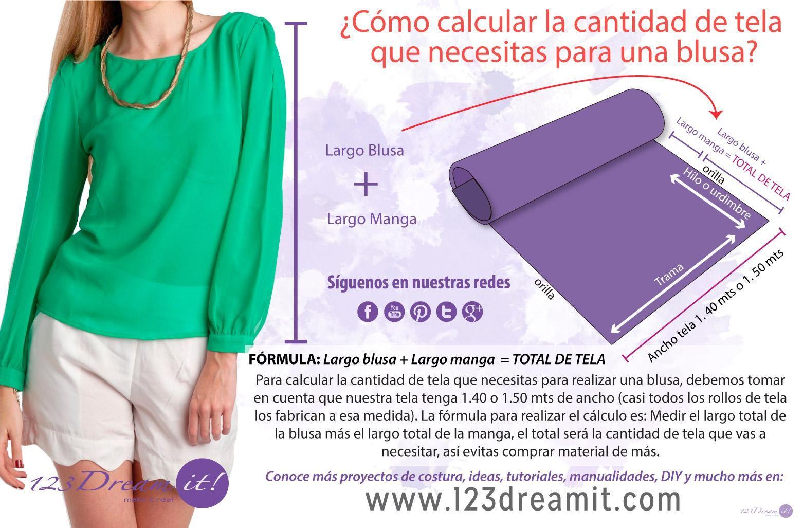 bae362d05 Para calcular cuanta tela necesitas para hacer una blusa, es muy sencillo  usando esta técnica. Debes tomar en cuenta escoger telas de 1.40 ó 1.50  mts. de ...