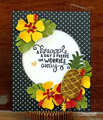 Pineapple Hibiscus Card by Larissa Heskett | Hibiscus die set by Newton's Nook Designs #newtonsnook