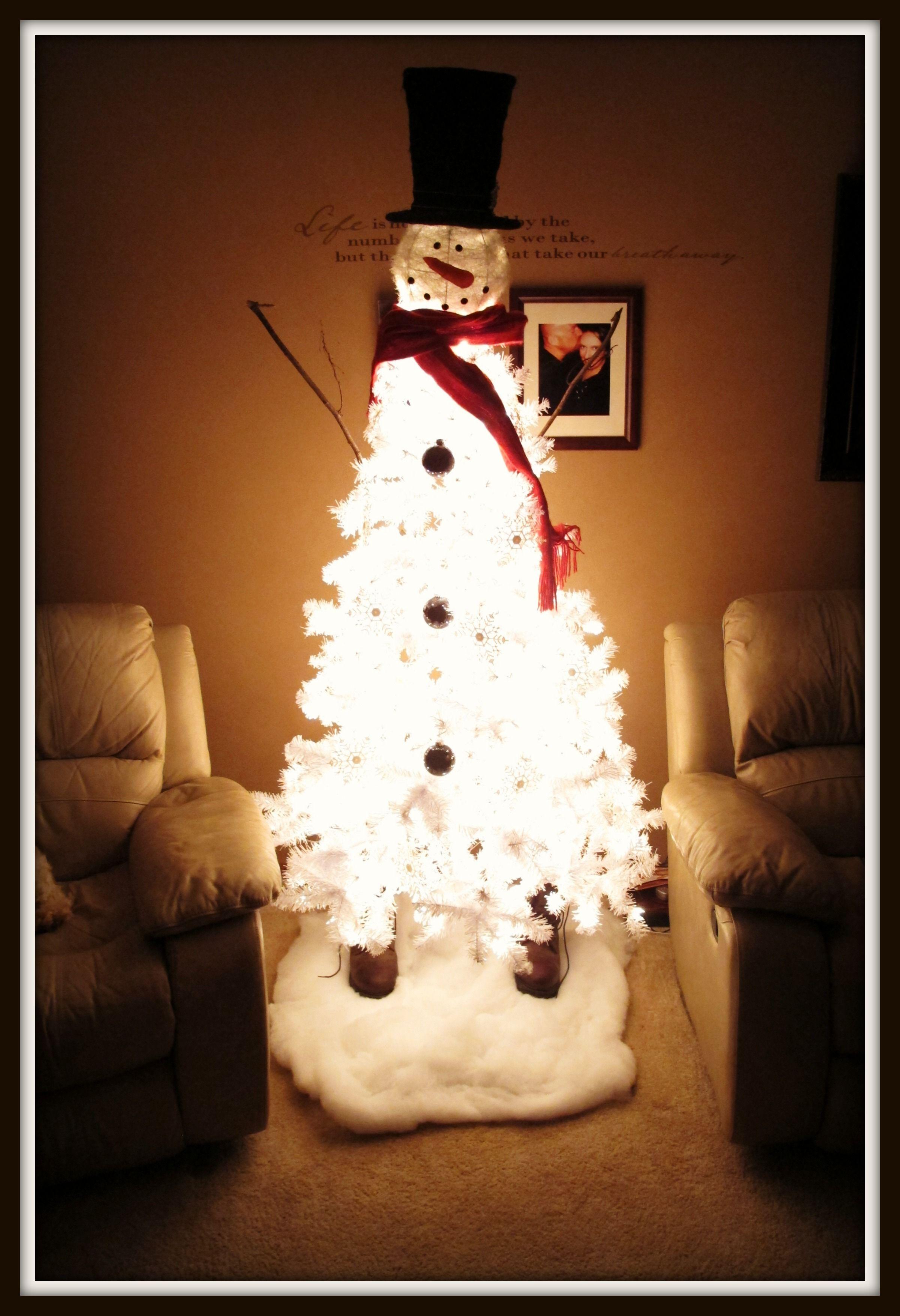 Snowman Christmas Tree. White Pre-Lit Christmas Tree, White ...