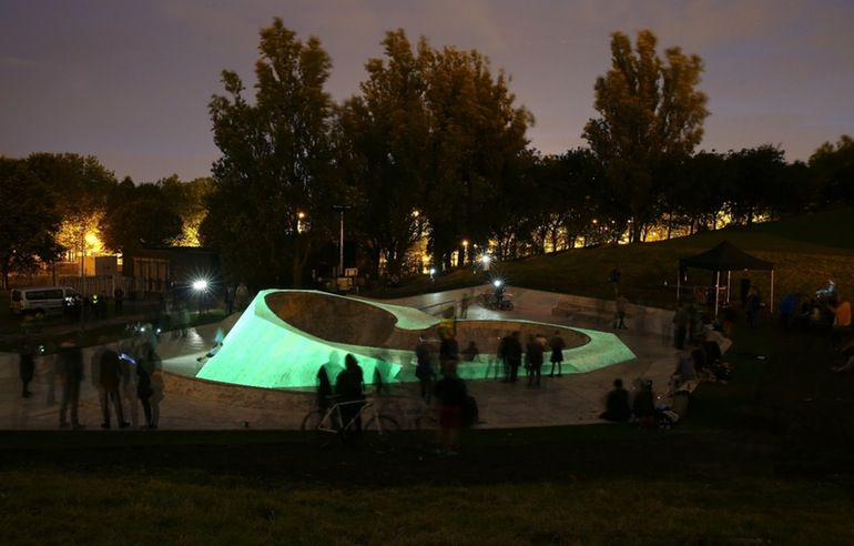 Water-based bioluminescent paint was used to make the skatepark glow
