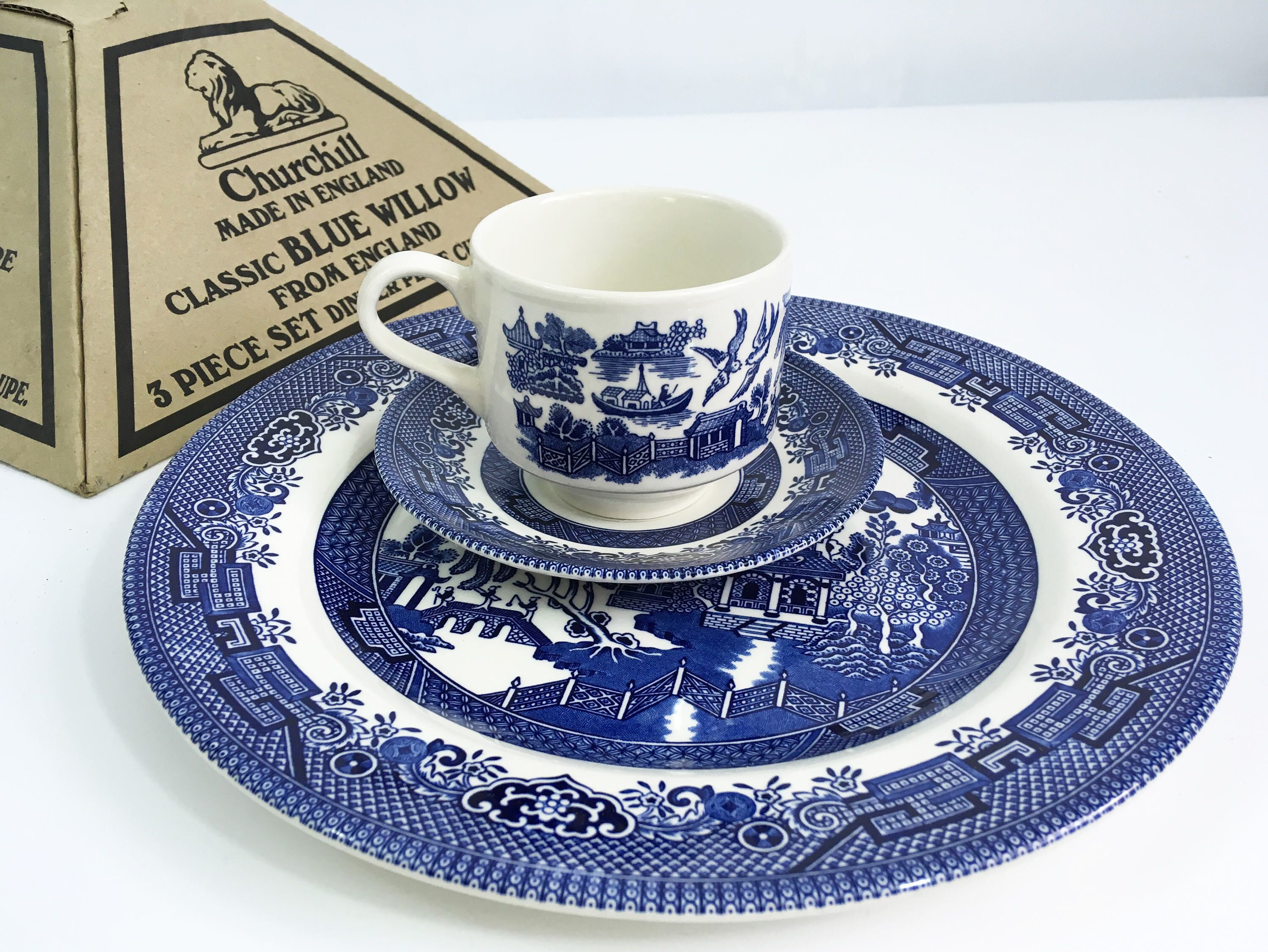 Vintage Churchill Blue Willow 3 Pc Set Made In England In Original Box Four Sets Available By Fourthestatesale On Et Blue Willow Cup Design Willow Pattern