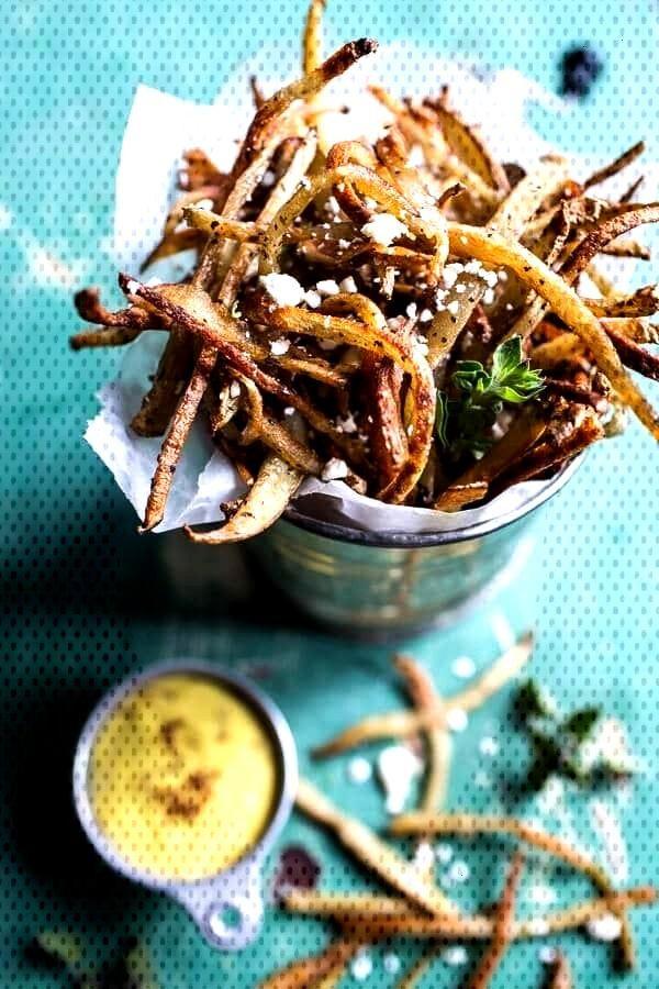 Skinny greek feta fries with roasted garlic saffron aioli -