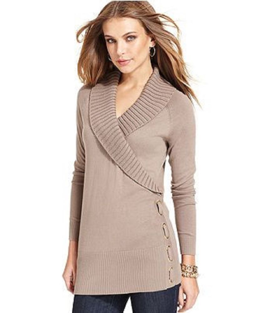 Style&co. Women's Sweater Rye Long-Sleeve Shawl-Collar