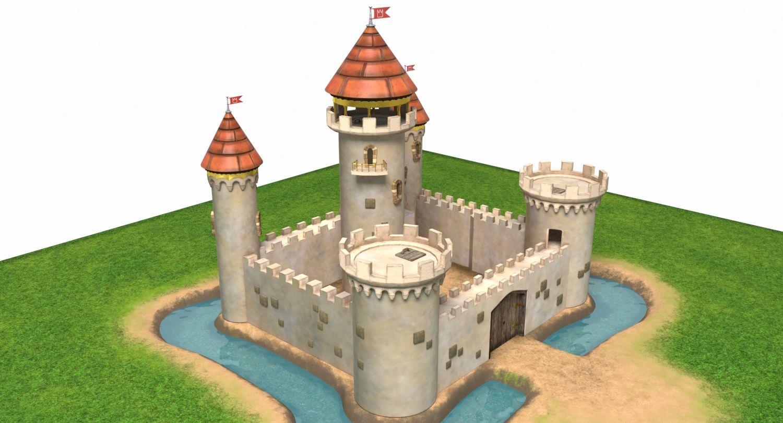 3d model Cartoon Castle house medieval tower fairy