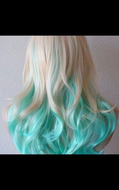 Blonde And Aqua Ombre Hair Hair Styles Long Hair Styles Hair Color Blue