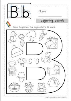 Beginning Sounds Color It! Alphabet phonics, Preschool