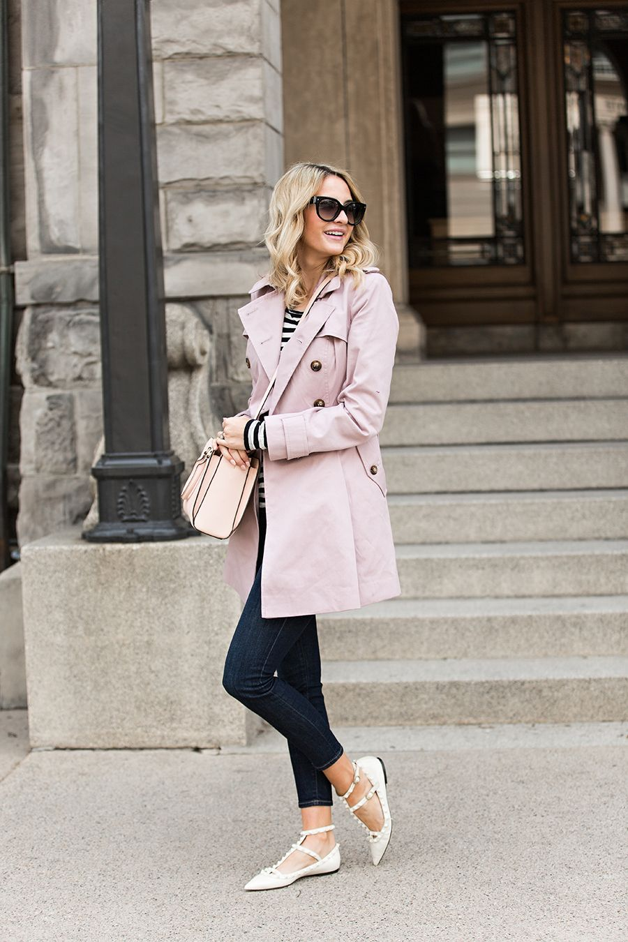 Pink On Pink Trench Coat Outfit Coat Outfits Fashion [ 1350 x 900 Pixel ]