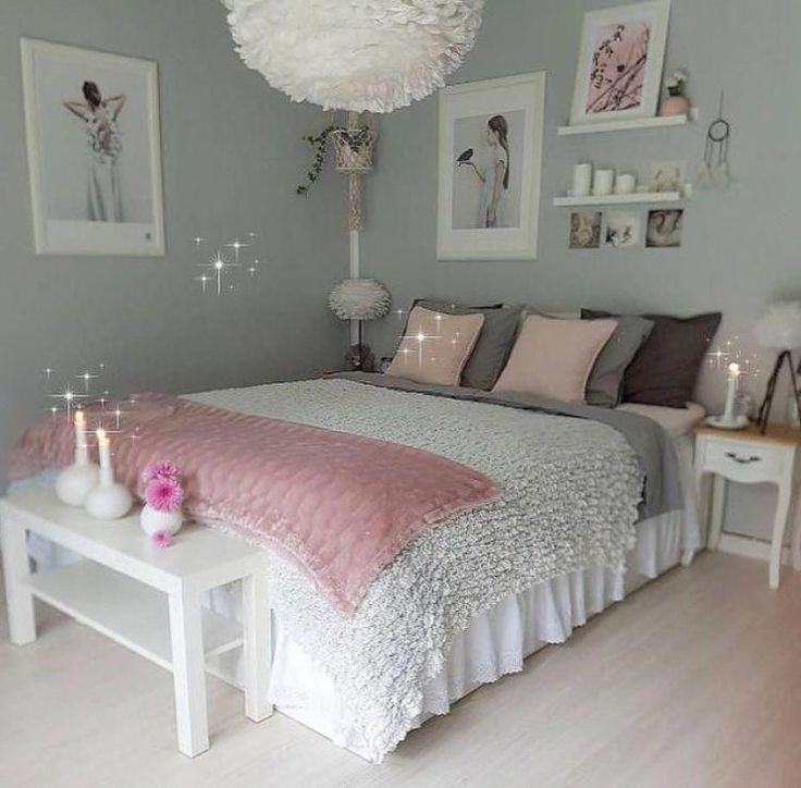 Photo of An upgraded, feminine bedroom that offers a space for the rest …