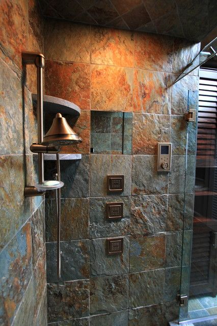 The Slate Tile W Grayish Grout Are Options For The Mbr Shower And Tub Or The Spa Shower Rustic Bath Rustic Bathrooms Eclectic Bathroom