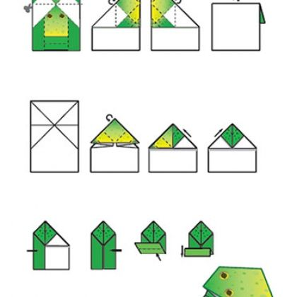 Origami: Jumpin' Frog Printable (With Images) Origami Frog