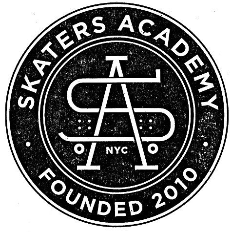 """""""A seal for Manhattan-based skateboarding school. Skating is viewed as such a negative, I wanted to stealthily hide a board in the monogram."""" Typeface: Gotham."""
