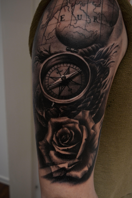 c7c315006 Done by 'Nemanja_TattooPesic' #tattoo #tattoos #ink #compass #compasstattoo  #rose #rosetattoo #sailor #rope # map #skull #sleev #arm