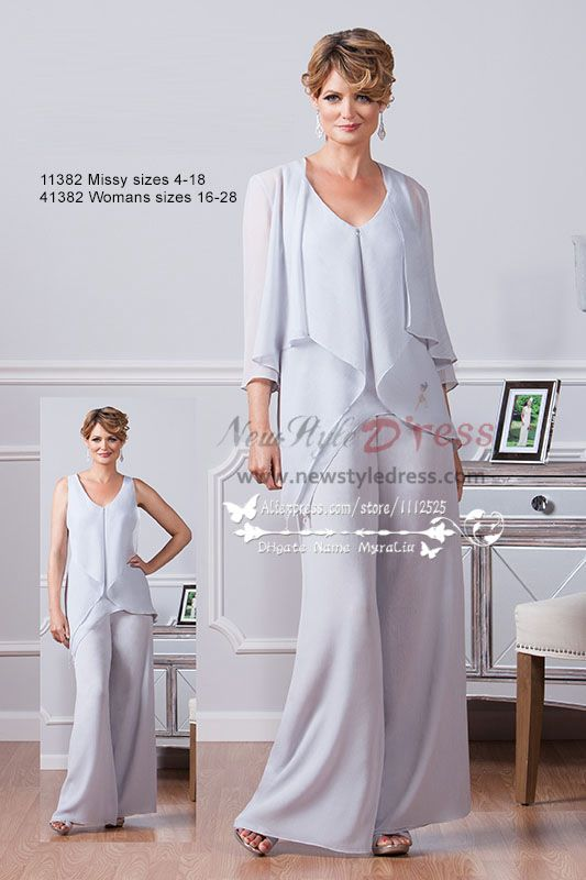 New style Mother of the bride pant suits three piece pale blue ...