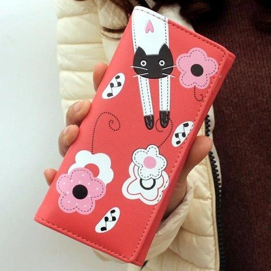 New cute cartoon cat pattern girl clutch Long wallet women PU leatherintothea