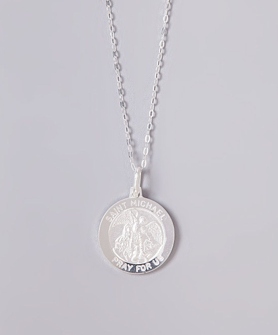 charm silver st on chain pendant sterling necklace a dipped michaels saint dogeared michael medallion gold