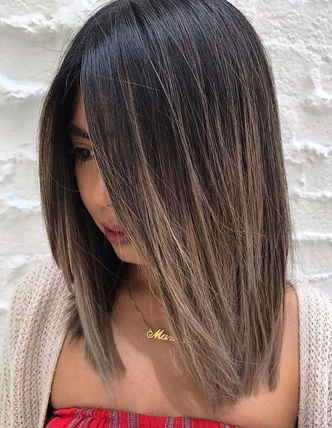 cool brunette balayage brunettes pinterest cheveux coiffures et coupes de cheveux carr long. Black Bedroom Furniture Sets. Home Design Ideas