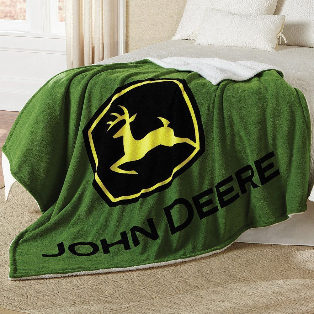 John Deere Logo Thick Sherpa And Fleece Green Blanket John Deere - John deere idees de decoration de chambre
