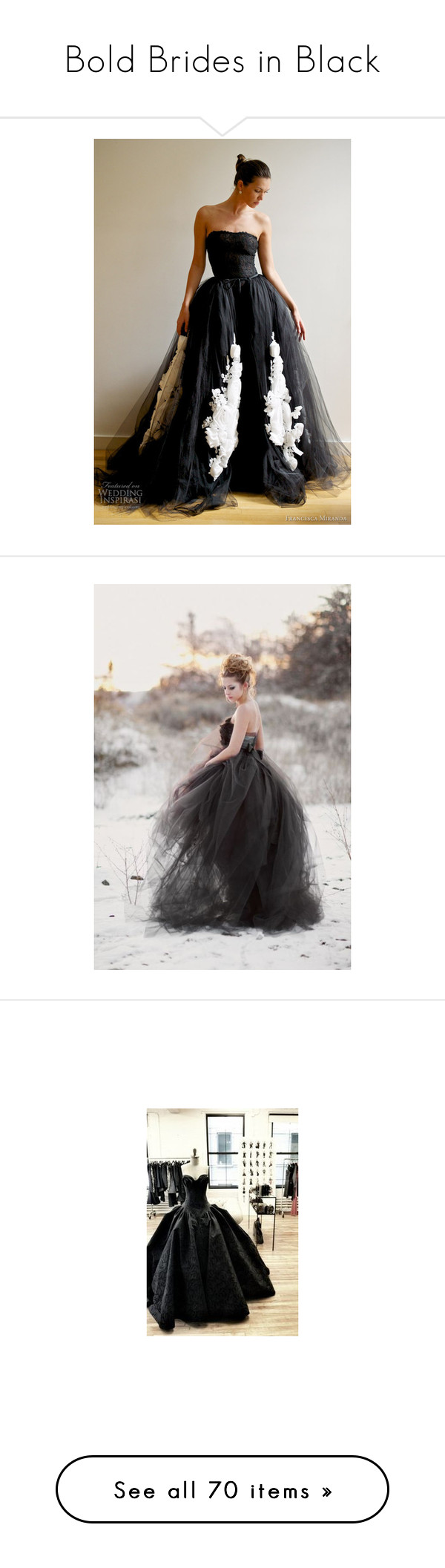 """""""Bold Brides in Black"""" by sunflower1999 ❤ liked on Polyvore featuring dresses, gowns, long dress, black special occasion dresses, holiday dresses, bridal dresses, long cocktail dresses, long black dress, gala dresses and black evening gowns"""