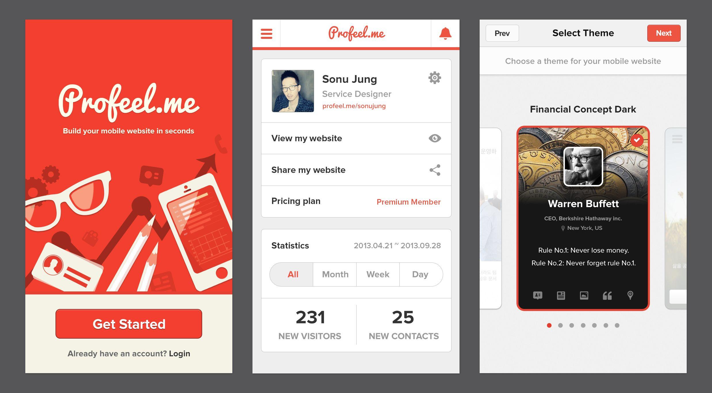 Dashboard : Mobile website builder by Kinda Labs