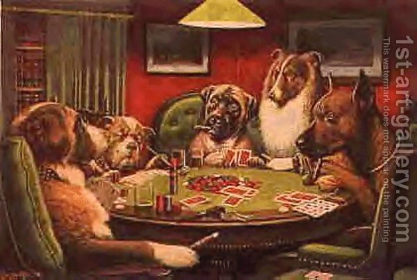 Dogs Playing Poker By Cassius Marcellus Coolidge Dog Art Dogs Playing Poker Framed Poster Art