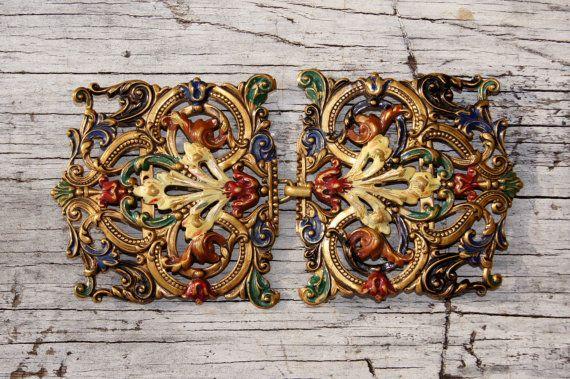 Art Nouveau Painted Brass Sash Belt Buckle by StarShineVintage #vogueteam #artnouveau #antiquebeltbuckle #sash #dressbuckle #flapperdress #christmasgift