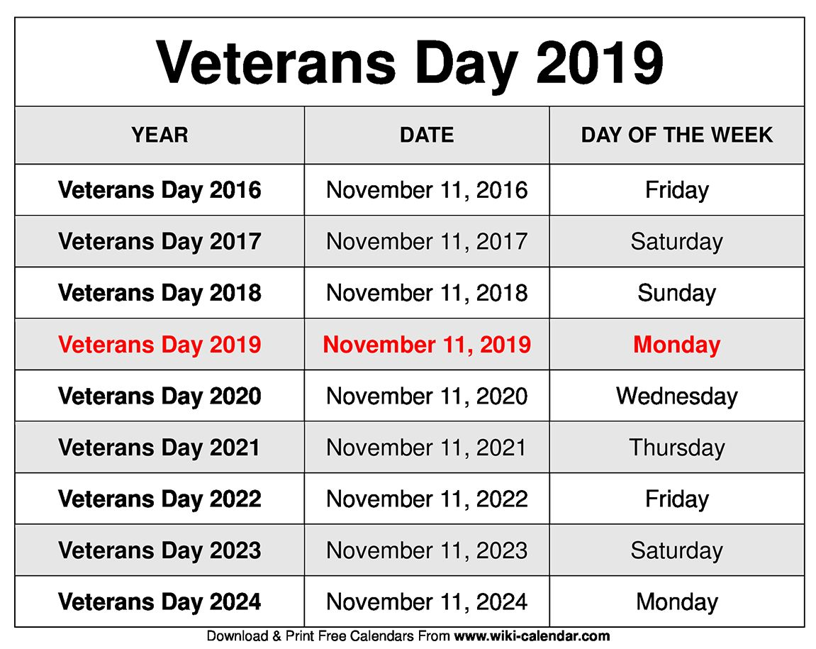 Free Printable November 2020 Calendars Veterans day 2019