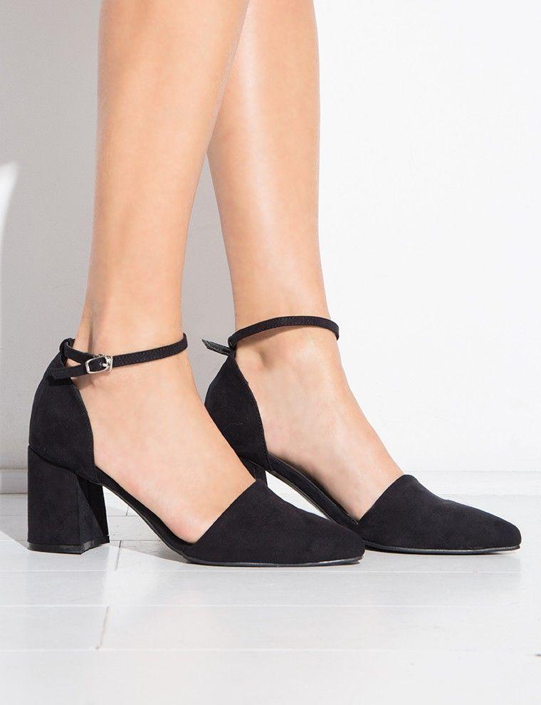 Medium heel shoes, Black block heel pumps