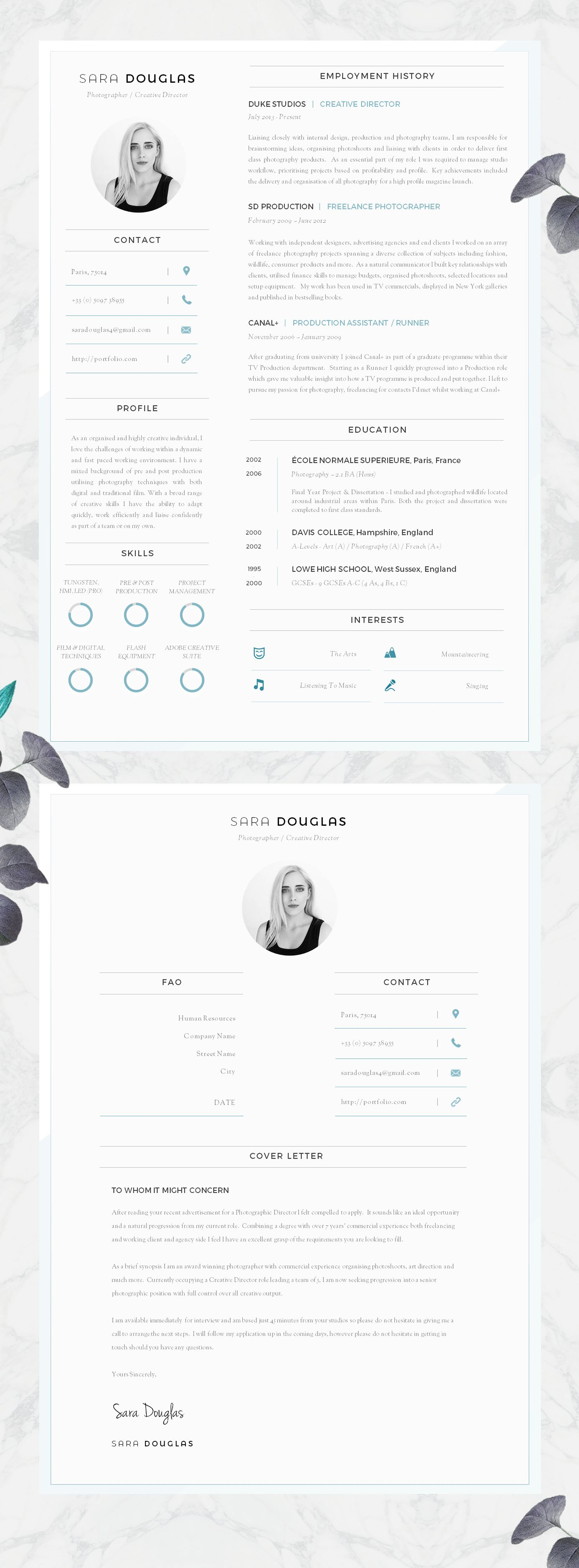 Modern Resume Template | Single Page Resume Template + Cover Letter ...