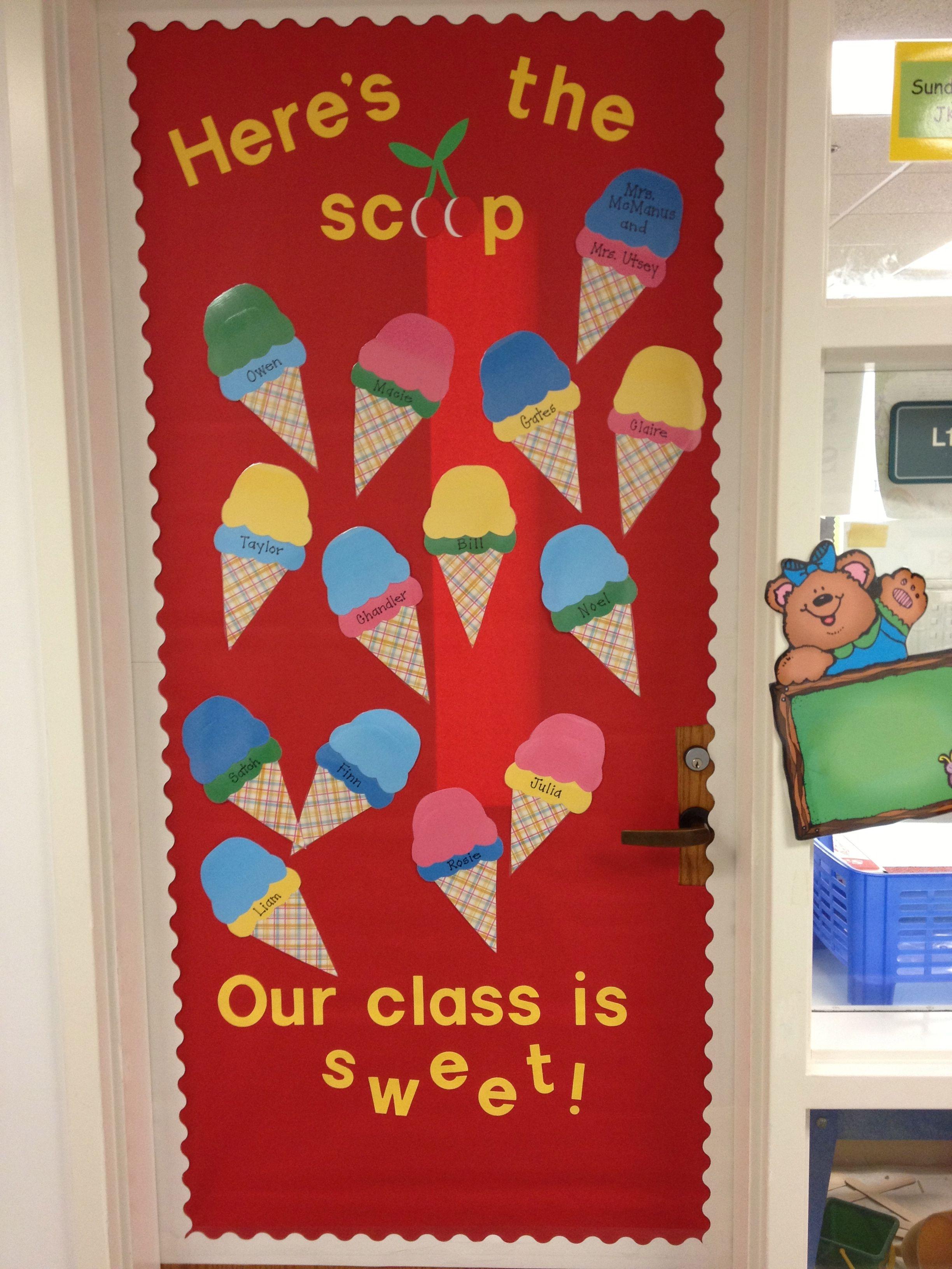 preschool door/bulletin board - variation of someone else's