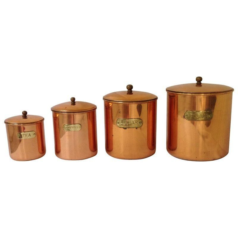 Vintage Copper Kitchen Canisters   Set Of 4   $115 Est. Retail   $75 On