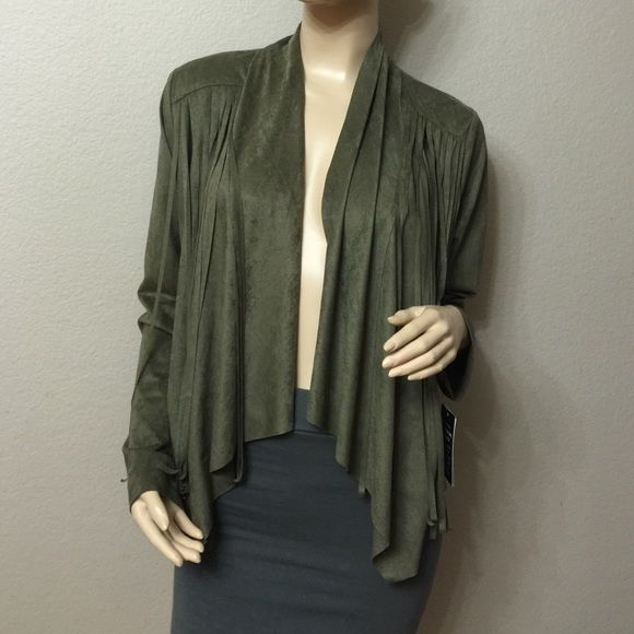 Olive Green Fringe Cardigan Really cute & soft cardigan perfect with a cute dress or some leather pants & tank.90% polyester 10% spandex Living Doll Jackets & Coats