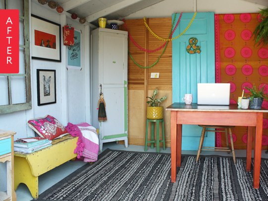 Before & After: Garden Shed to Colorful Home Office on a Budget | Apartment Therapy